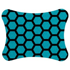 Hexagon2 Black Marble & Turquoise Colored Pencil Jigsaw Puzzle Photo Stand (bow)