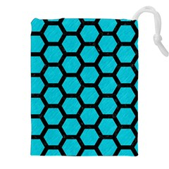 Hexagon2 Black Marble & Turquoise Colored Pencil Drawstring Pouches (xxl)