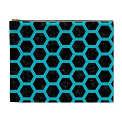 Hexagon2 Black Marble & Turquoise Colored Pencil (r) Cosmetic Bag (xl)