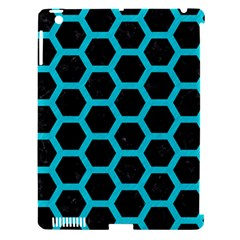 Hexagon2 Black Marble & Turquoise Colored Pencil (r) Apple Ipad 3/4 Hardshell Case (compatible With Smart Cover)