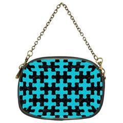 Puzzle1 Black Marble & Turquoise Colored Pencil Chain Purses (two Sides)