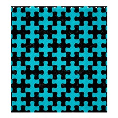 Puzzle1 Black Marble & Turquoise Colored Pencil Shower Curtain 66  X 72  (large)