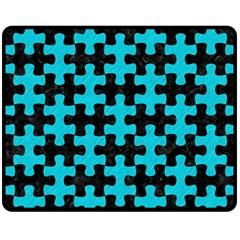 Puzzle1 Black Marble & Turquoise Colored Pencil Fleece Blanket (medium)