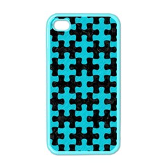 Puzzle1 Black Marble & Turquoise Colored Pencil Apple Iphone 4 Case (color)