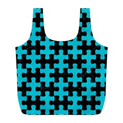 Puzzle1 Black Marble & Turquoise Colored Pencil Full Print Recycle Bags (l)