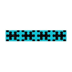 Puzzle1 Black Marble & Turquoise Colored Pencil Flano Scarf (mini)