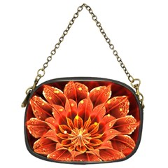 Beautiful Ruby Red Dahlia Fractal Lotus Flower Chain Purses (two Sides)