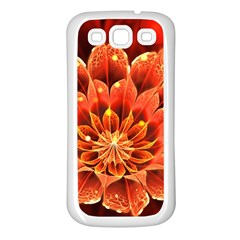 Beautiful Ruby Red Dahlia Fractal Lotus Flower Samsung Galaxy S3 Back Case (white)