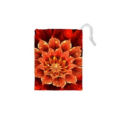Beautiful Ruby Red Dahlia Fractal Lotus Flower Drawstring Pouches (xs)