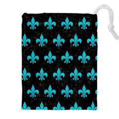 Royal1 Black Marble & Turquoise Colored Pencil Drawstring Pouches (xxl)