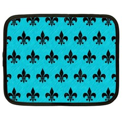 Royal1 Black Marble & Turquoise Colored Pencil (r) Netbook Case (xxl)