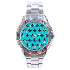Royal1 Black Marble & Turquoise Colored Pencil (r) Stainless Steel Analogue Watch