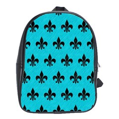 Royal1 Black Marble & Turquoise Colored Pencil (r) School Bag (xl)