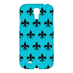 Royal1 Black Marble & Turquoise Colored Pencil (r) Samsung Galaxy S4 I9500/i9505 Hardshell Case