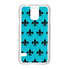 Royal1 Black Marble & Turquoise Colored Pencil (r) Samsung Galaxy S5 Case (white)