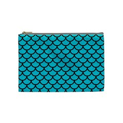 Scales1 Black Marble & Turquoise Colored Pencil Cosmetic Bag (medium)