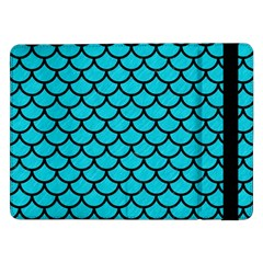 Scales1 Black Marble & Turquoise Colored Pencil Samsung Galaxy Tab Pro 12 2  Flip Case