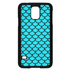 Scales1 Black Marble & Turquoise Colored Pencil Samsung Galaxy S5 Case (black)
