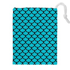 Scales1 Black Marble & Turquoise Colored Pencil Drawstring Pouches (xxl)