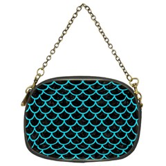 Scales1 Black Marble & Turquoise Colored Pencil (r) Chain Purses (two Sides)