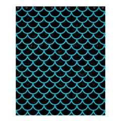 Scales1 Black Marble & Turquoise Colored Pencil (r) Shower Curtain 60  X 72  (medium)