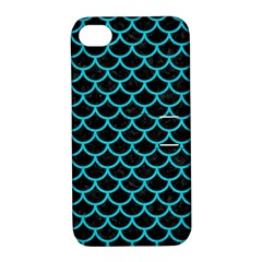 Scales1 Black Marble & Turquoise Colored Pencil (r) Apple Iphone 4/4s Hardshell Case With Stand