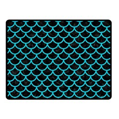 Scales1 Black Marble & Turquoise Colored Pencil (r) Double Sided Fleece Blanket (small)