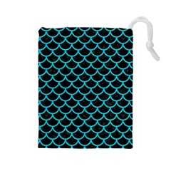 Scales1 Black Marble & Turquoise Colored Pencil (r) Drawstring Pouches (large)