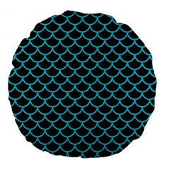 Scales1 Black Marble & Turquoise Colored Pencil (r) Large 18  Premium Flano Round Cushions