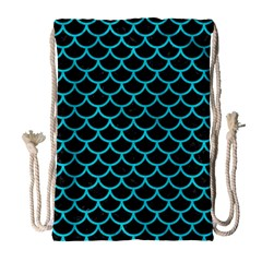 Scales1 Black Marble & Turquoise Colored Pencil (r) Drawstring Bag (large)