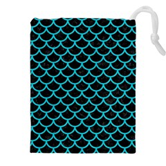 Scales1 Black Marble & Turquoise Colored Pencil (r) Drawstring Pouches (xxl)