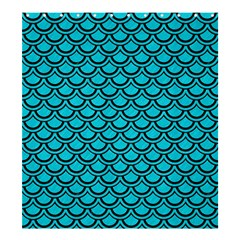 Scales2 Black Marble & Turquoise Colored Pencil Shower Curtain 66  X 72  (large)