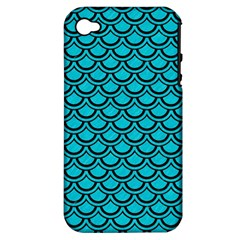 Scales2 Black Marble & Turquoise Colored Pencil Apple Iphone 4/4s Hardshell Case (pc+silicone)