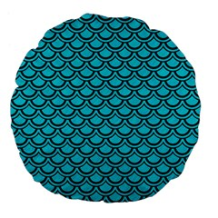 Scales2 Black Marble & Turquoise Colored Pencil Large 18  Premium Flano Round Cushions