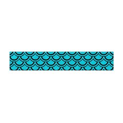 Scales2 Black Marble & Turquoise Colored Pencil Flano Scarf (mini)