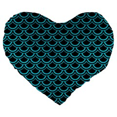 Scales2 Black Marble & Turquoise Colored Pencil (r) Large 19  Premium Heart Shape Cushions