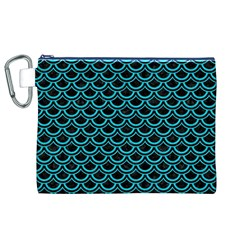 Scales2 Black Marble & Turquoise Colored Pencil (r) Canvas Cosmetic Bag (xl)