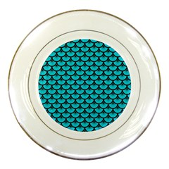 Scales3 Black Marble & Turquoise Colored Pencil Porcelain Plates