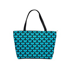 Scales3 Black Marble & Turquoise Colored Pencil Shoulder Handbags