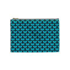 Scales3 Black Marble & Turquoise Colored Pencil Cosmetic Bag (medium)