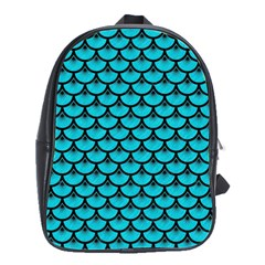 Scales3 Black Marble & Turquoise Colored Pencil School Bag (large)
