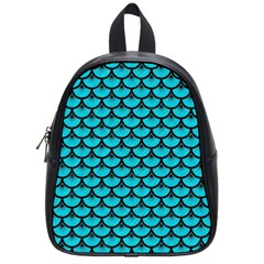 Scales3 Black Marble & Turquoise Colored Pencil School Bag (small)
