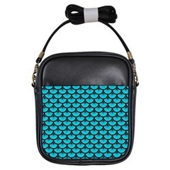 Scales3 Black Marble & Turquoise Colored Pencil Girls Sling Bags