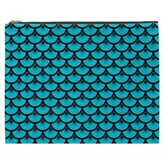 Scales3 Black Marble & Turquoise Colored Pencil Cosmetic Bag (xxxl)