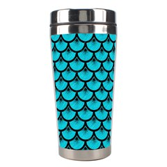 Scales3 Black Marble & Turquoise Colored Pencil Stainless Steel Travel Tumblers