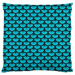 Scales3 Black Marble & Turquoise Colored Pencil Large Flano Cushion Case (one Side)