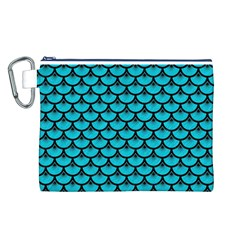 Scales3 Black Marble & Turquoise Colored Pencil Canvas Cosmetic Bag (l)