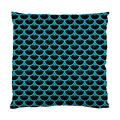 Scales3 Black Marble & Turquoise Colored Pencil (r) Standard Cushion Case (two Sides)