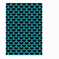 Scales3 Black Marble & Turquoise Colored Pencil (r) Large Garden Flag (two Sides)