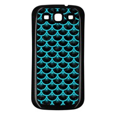 Scales3 Black Marble & Turquoise Colored Pencil (r) Samsung Galaxy S3 Back Case (black)